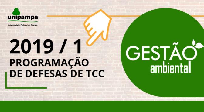 PROGRAMAÇÃO DE DEFESAS TRABALHO DE CONCLUSÃO DE CURSO – 2019/1
