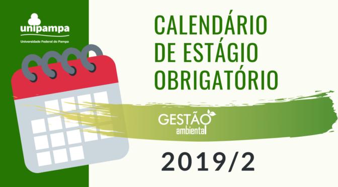 Calendário de Estágio Obrigatório 2019/2