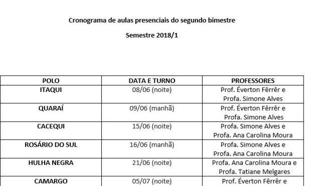 Cronograma de aulas presenciais – 2º bimestre